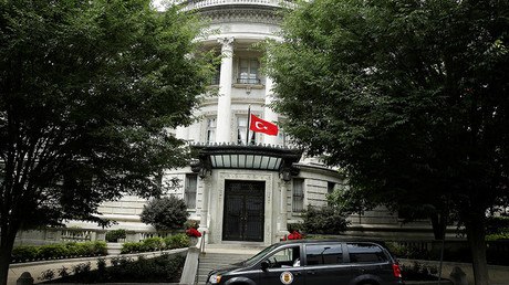 The Turkish flag flies over the the Turkish Ambassador's residence in Washington © Joshua Roberts