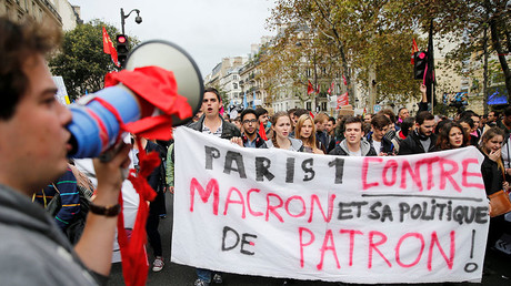 Image result for  Tear gas used in Paris as strike against Macron labor reforms grips France