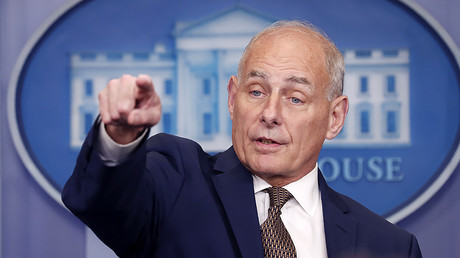 White House Chief of Staff John Kelly takes questions from the media while addressing the daily briefing at the White House in Washington, U.S., October 12, 2017. © Kevin Lamarque