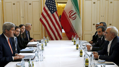 FILE PHOTO: U.S. Secretary of State John Kerry (L) meets with Iranian Foreign Minister Mohammad Javad Zarif on what is expected to be