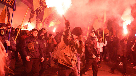 Ukrainian nationalists hold march in Kiev to mark anniversary of creation of Nazi-linked group