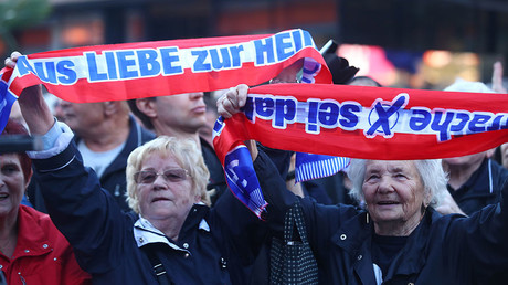 Supporters of the Austrian Freedom Party (FPOe) attend the party's final election campaign rally in Vienna, Austria, October 13, 2017 © Michael Dalder