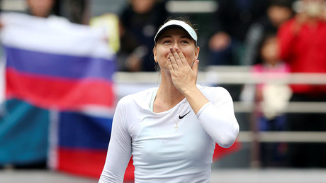 Maria Sharapova of Russia celebrates after winning the match against Aryna Sabalenka of Belarus © Reuters