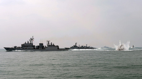 FILE PHOTO: South Korean navy vessels conduct a military drill © South Korean Navy
