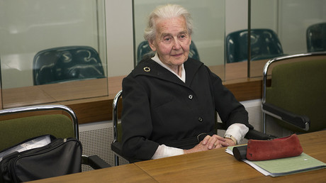Ursula Haverbeck, accused of denying the holocaust, sits in a courtroom in Berlin, Germany, October 16, 2017 © Paul Zinken