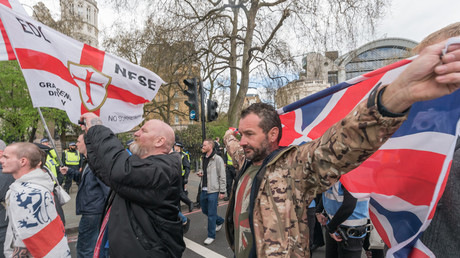 EDL (English Defence League) marchers arrive on the Embankment for a rally close to that being held by Britain First. © Peter Marshall / Global Look Press