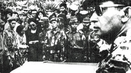 Major General Suharto attended the funeral of five generals assassinated during the failed coup that sparked the massacre. © Wikipedia