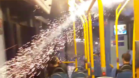 Parking lot pyrotechnics: Car's out-of-control fireworks spark panic (VIDEO)