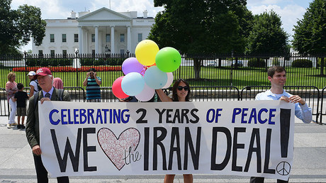 Activist take part in a rally to commemorate the nuclear deal with Iran in front of the White House, on July 14, 2017 in Washington, DC. © Mandel Ngan
