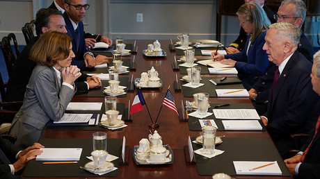 France's Minister of the Armed Forces Florence Parly (L) and U.S. Defense Secretary James Mattis sit down for meeting with their respective staffs at the Pentaon October 20, 2017 in Arlington, Virginia © Chip Somodevilla