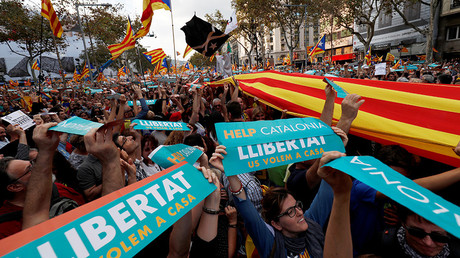 450,000 protest Madrid's threatened direct rule over Catalonia