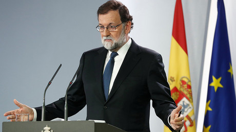 Spain's Prime Minister Mariano Rajoy speaks during a press conference at the Moncloa Palace in Madrid, Spain, October 21, 2017 © Juan Medina