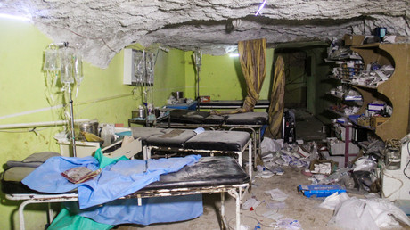 Destruction at a hospital room in Khan Sheikhun, in the northwestern Syrian Idlib province, following a suspected toxic gas attack  April 4, 2017. ©