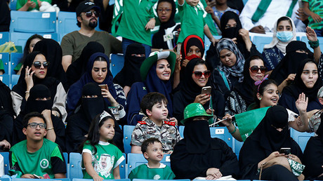 Saudi Arabia women attend a rally to celebrate the 87th annual National Day of Saudi Arabia in Riyadh, Saudi Arabia September 23, 2017 © Faisal Al Nasser