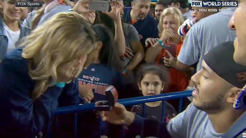 Pitching the question - Houston Astros player proposes to girlfriend after World Series win