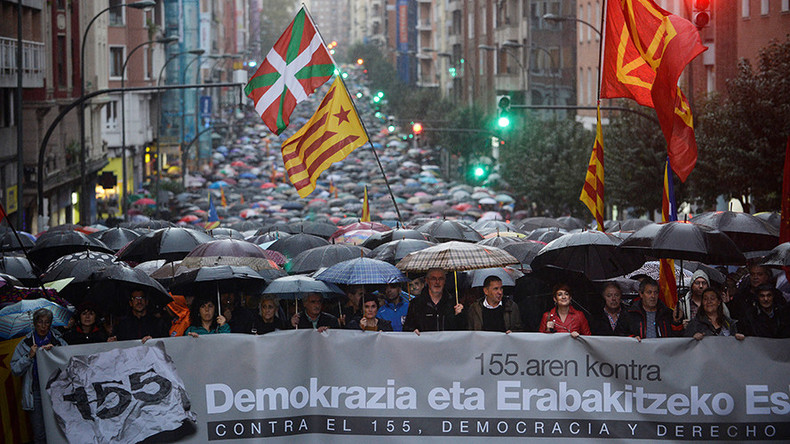 'Right to decide:' Thousands of Basques protest Spain's direct rule of Catalonia