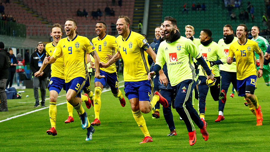 Swede success: Jubilant Swedish footballers destroy TV set during World Cup celebrations (VIDEO)