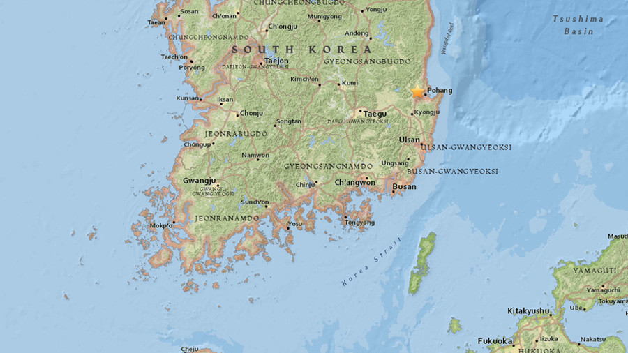 Twin quakes about 5.4 magnitude hit off S. Korea's southeastern coast