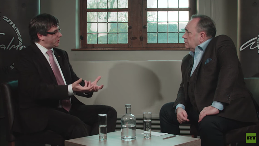 'Democracy will prevail' – Puigdemont defiant on Alex Salmond's new RT show (VIDEO)