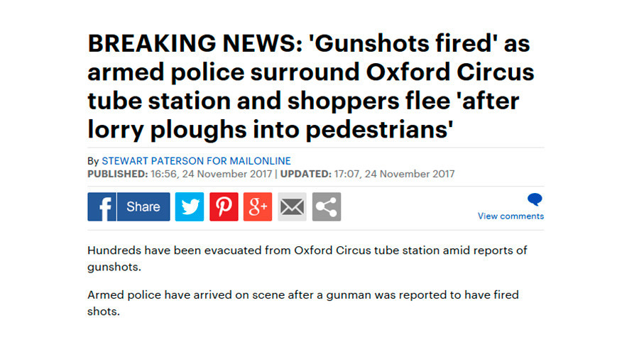 Daily Mail reporters get their facts utterly wrong in rush to break Oxford Circus evacuation