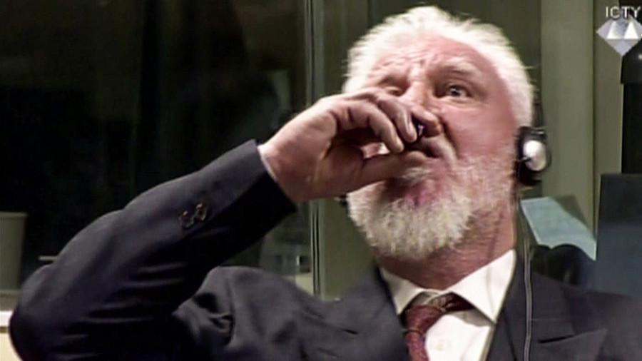 Convicted Bosnian Croat ex-general dies after 'drinking poison' at Hague tribunal (VIDEO)