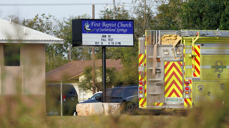 Emergency services attend the scene of the First Baptist Church in Sutherland Springs, Texas