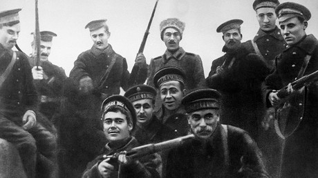 Seamen of the Baltic Fleet, members of the Winter Palace assault operation in Petrograd (present-day St. Petersburg) in October 1917. © Sputnik