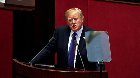 U.S. President Donald Trump speaks at the South Korean National Assembly in Seoul, South Korea, November 8, 2017 © Jonathan Ernst