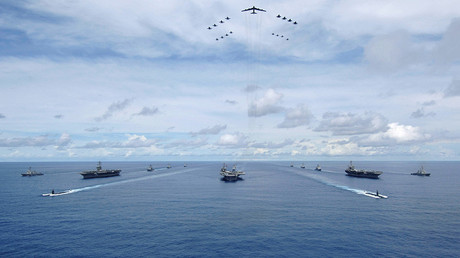 FILE PHOTO The USS Nimitz, USS Kitty Hawk and USS John C. Stennis Carrier Strike Groups © U.S. Navy