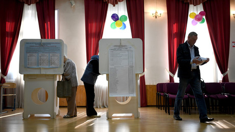 Voters at a polling station in Moscow on the single election day © Vladimir Astapkovich