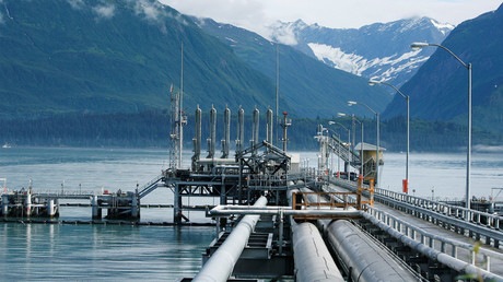A mooring station at the Trans-Alaska Pipeline Marine Terminal in Valdez, Alaska © Lucas Jackson