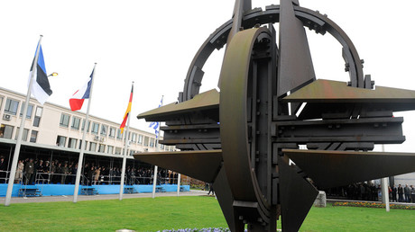NATO symbol in front of headquarters in Brussels © Wiktor Dabkowski / Global Look Press