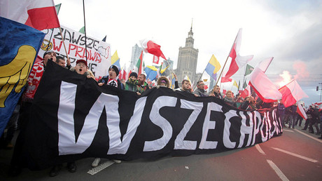 Protesters stand with banner 'All-Polish Youth' on Polish Independence Day in Warsaw, November 11, 2017 © Agencja Gazeta