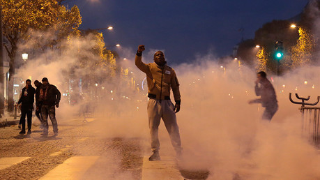Around 1,000 people took to the streets of Paris on November 18 to protest slavery in Libya. The Libyan government launched a probe after CNN released footage apparently showing migrants being sold at a location outside Tripoli. © Zakaria Abdelkafi