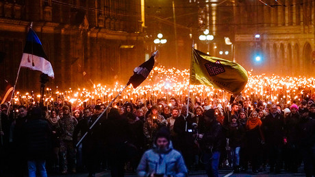 A torchlight procession in Riga, Latvia marking Independence Day © Sergey Melkonov