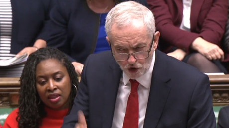 Jeremy Corbyn was furious with the Tory Budget statement in the House of Commons © PRU