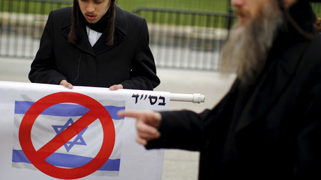 An Ultra-Orthodox Jewish man attends a protest against Benjamin Netanyahu's visit, in Washington © Carlos Barria