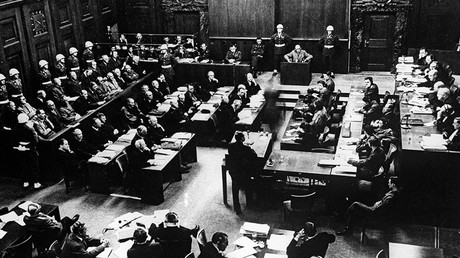 Reproduction of the 1946 photo. A session of the International Military Tribunal during the Nuremberg Trials © Sputnik