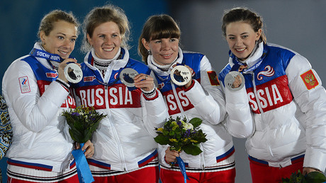 Silver medal winners in the women's biathlon relay at the XXII Olympic Winter Games in Sochi © Vladimir Sergeev