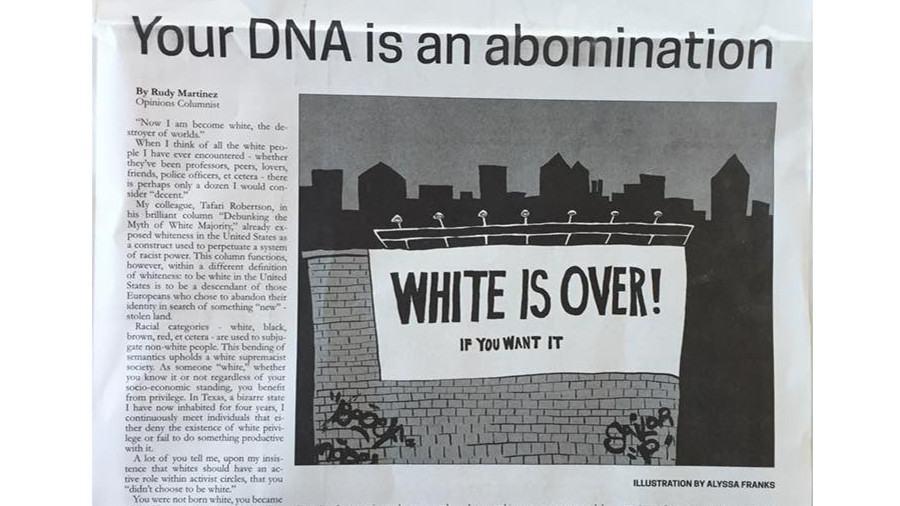 'Your DNA is an abomination': University under fire for publishing anti-white article