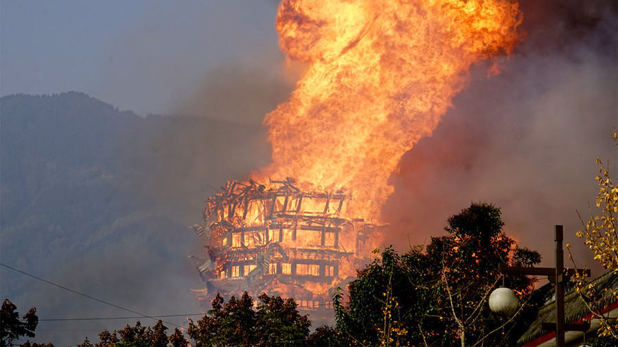 Asia's tallest wooden tower burns to ground (VIDEO)