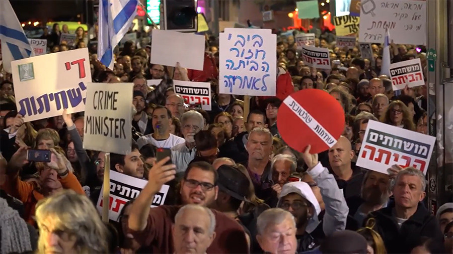 'Crime Minister': Thousands rally in Tel Aviv demanding Netanyahu quit over corruption scandal