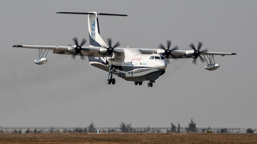 China flies its first home-made large amphibious aircraft