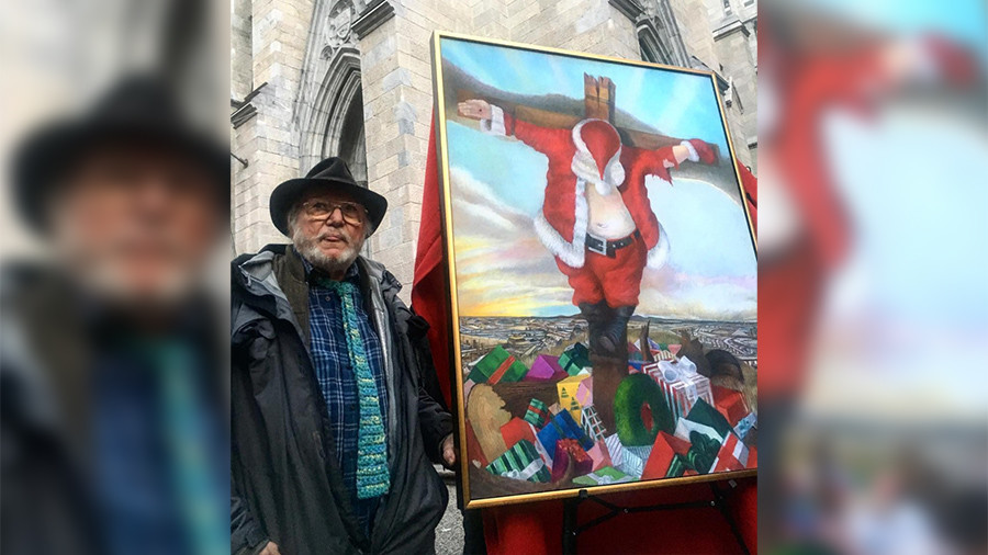 Painting of crucified Santa shocks New York holiday crowds