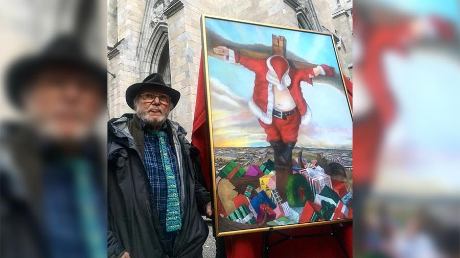 Painting of crucified Santa shocks New York holiday crowds