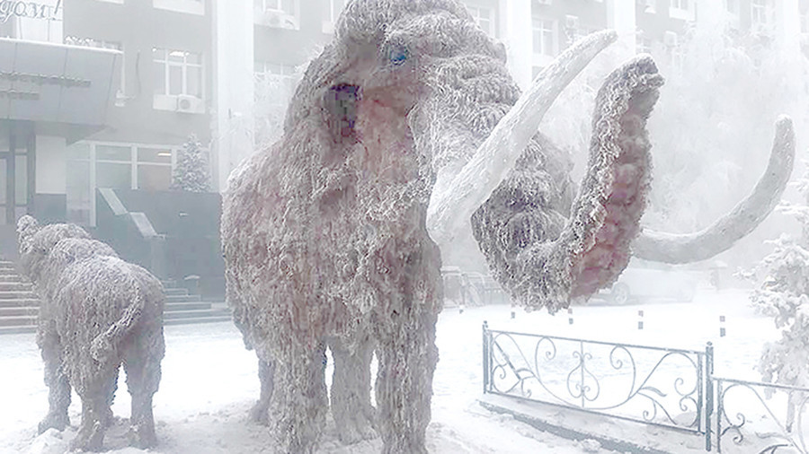 icy mammoths reappear in russia s coldest city ahead of new year photos rt world news. Black Bedroom Furniture Sets. Home Design Ideas