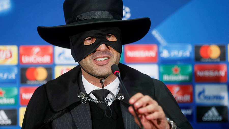 'With the mask or without?' – Coach keeps Champions League bet, wears Zorro costume to presser