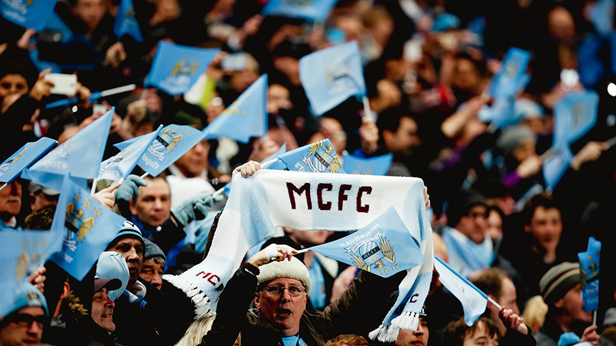 Man City fans unveil pro-Ukraine banner, but have scarves stolen by local hooligans