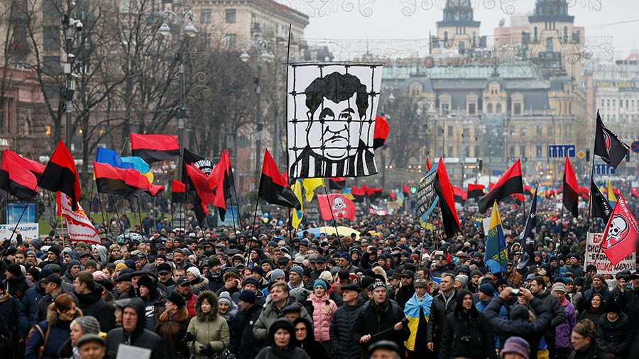 'Kiev, get up!' 1000s of Saakashvili supporters demand Ukraine president's impeachment (VIDEO)