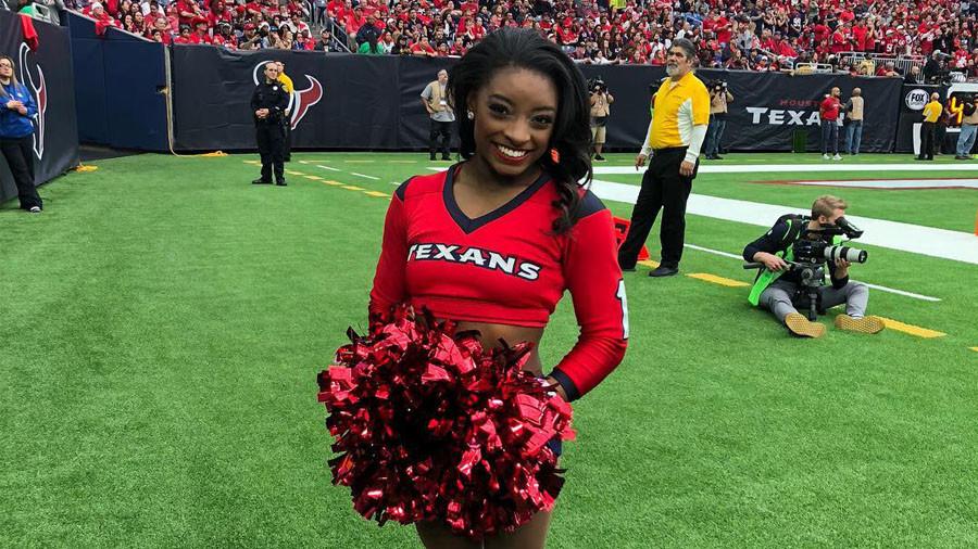 Olympic champion gymnast Simone Biles makes Houston Texans cheerleading debut